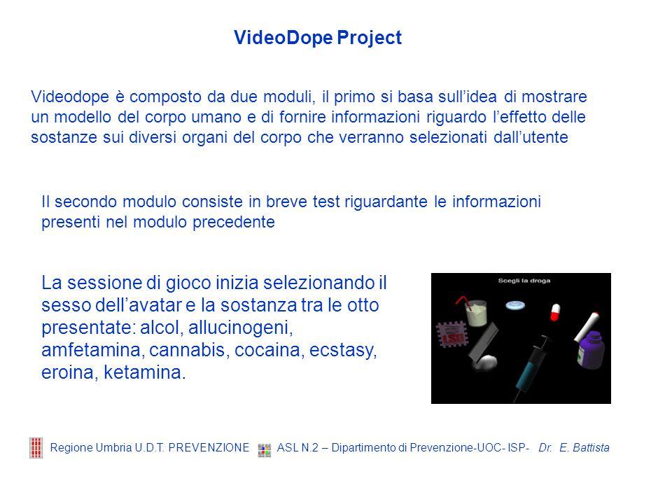 Dr. E. Battista Regione Umbria U.D.T. PREVENZIONE ASL N.2 – Dipartimento di Prevenzione-UOC- ISP- VideoDope Project Videodope è composto da due moduli