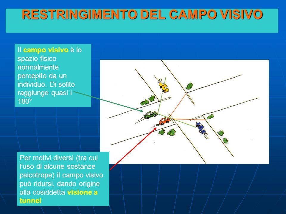 RESTRINGIMENTO DEL CAMPO VISIVO Il campo visivo è lo spazio fisico normalmente percepito da un individuo. Di solito raggiunge quasi i 180° Per motivi
