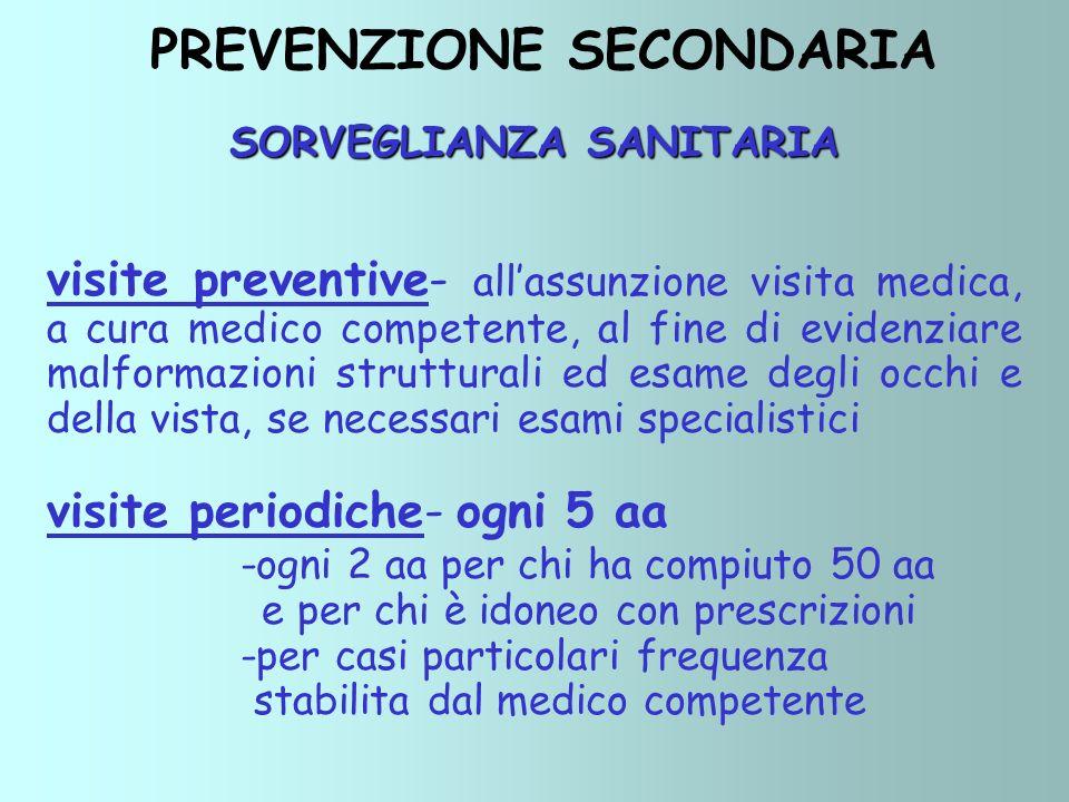 SORVEGLIANZA SANITARIA visite preventive- allassunzione visita medica, a cura medico competente, al fine di evidenziare malformazioni strutturali ed e