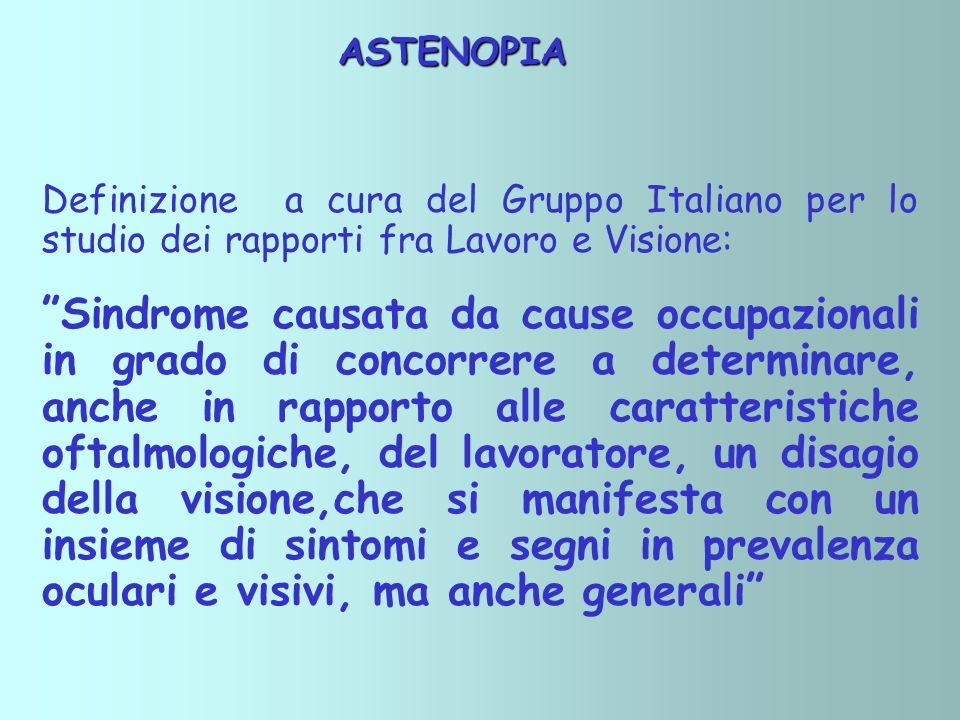ASTENOPIA ASTENOPIA Definizione a cura del Gruppo Italiano per lo studio dei rapporti fra Lavoro e Visione: Sindrome causata da cause occupazionali in