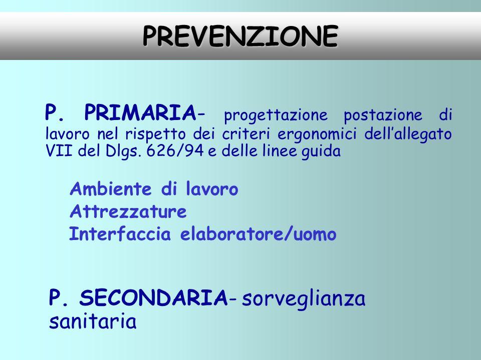 PREVENZIONE P. PRIMARIA- progettazione postazione di lavoro nel rispetto dei criteri ergonomici dellallegato VII del Dlgs. 626/94 e delle linee guida