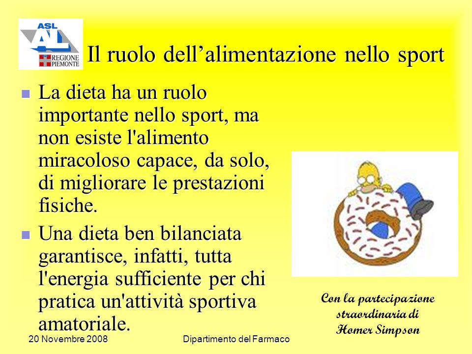 20 Novembre 2008Dipartimento del Farmaco Il ruolo dellalimentazione nello sport La dieta ha un ruolo importante nello sport, ma non esiste l alimento miracoloso capace, da solo, di migliorare le prestazioni fisiche.