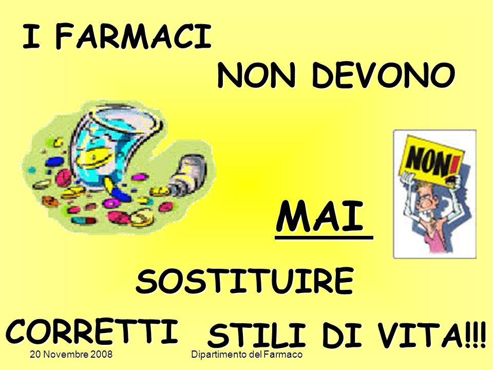 20 Novembre 2008Dipartimento del Farmaco I FARMACI NON DEVONO MAI SOSTITUIRE CORRETTI STILI DI VITA!!!