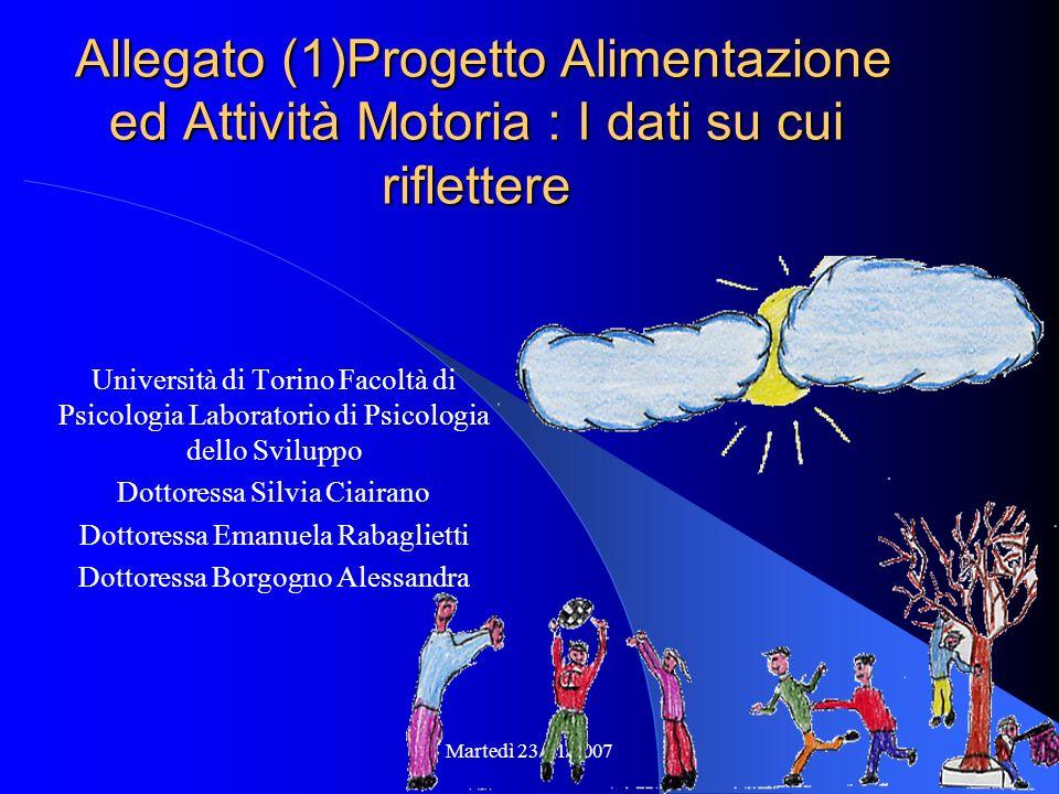 Martedì 23/01/2007 Il Progetto in Numeri Scuole Medie : 691 Scuole Elementari : 181 Società Sportive : 140 TOTALE 1012