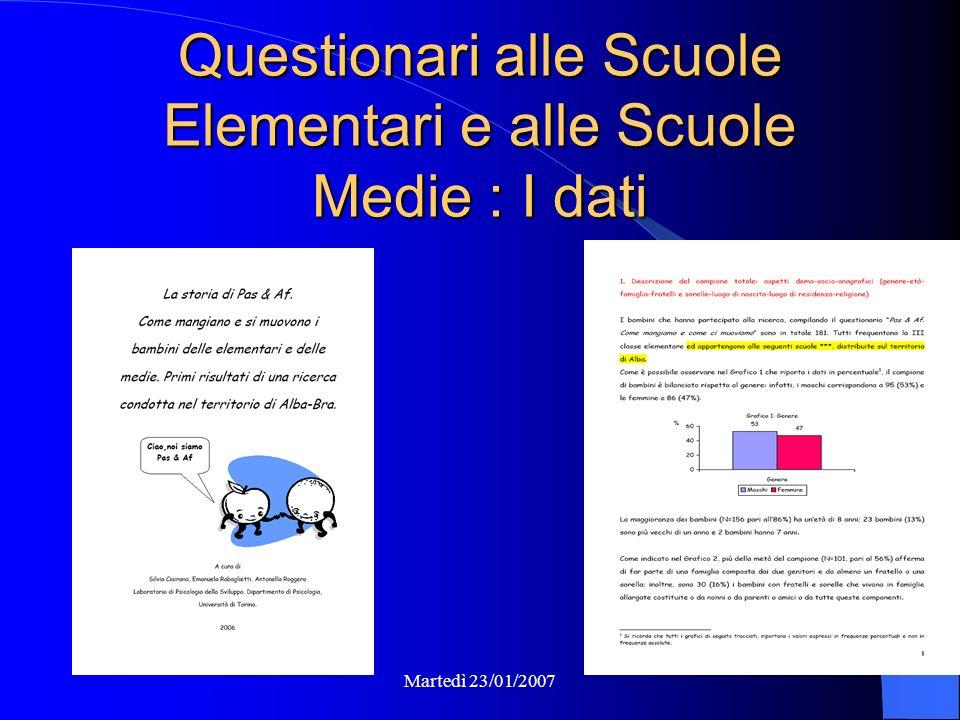Martedì 23/01/2007 Questionari alle Scuole Elementari e alle Scuole Medie : I dati