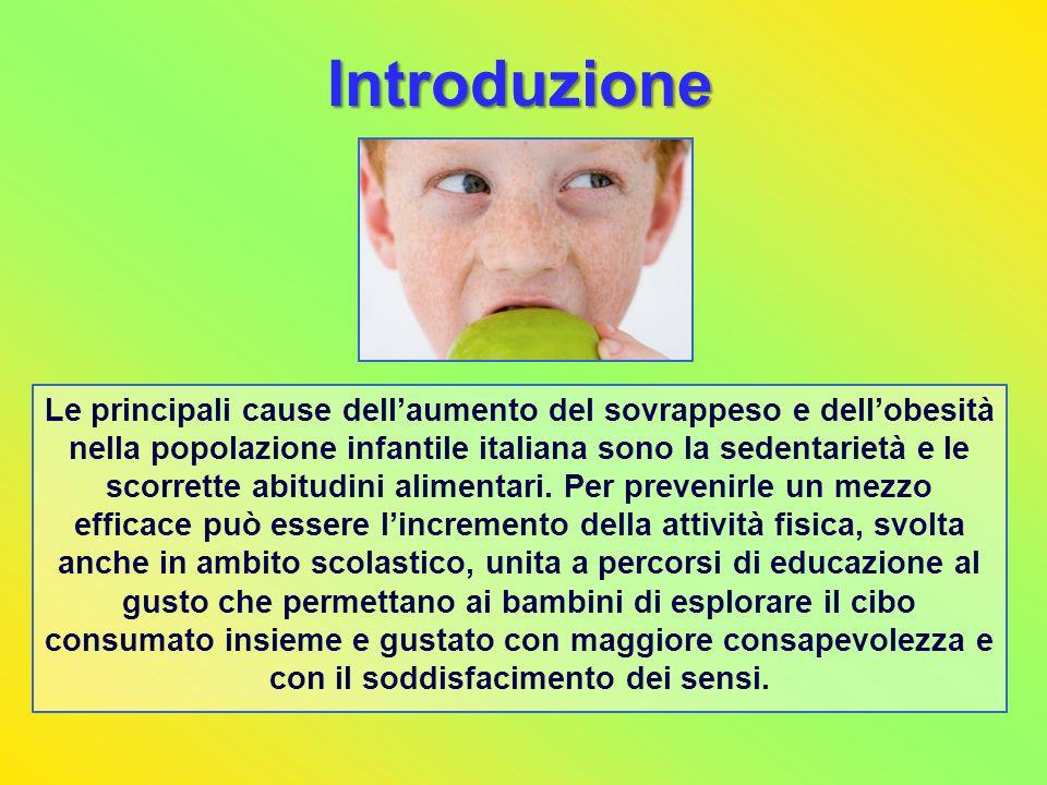 Introduzione Le principali cause dellaumento del sovrappeso e dellobesità nella popolazione infantile italiana sono la sedentarietà e le scorrette abi