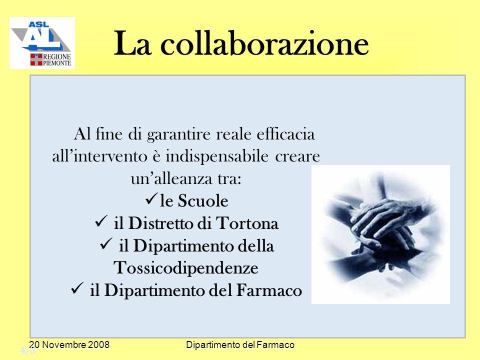 20 Novembre 2008Dipartimento del Farmaco La collaborazione Al fine di garantire reale efficacia allintervento è indispensabile creare unalleanza tra: