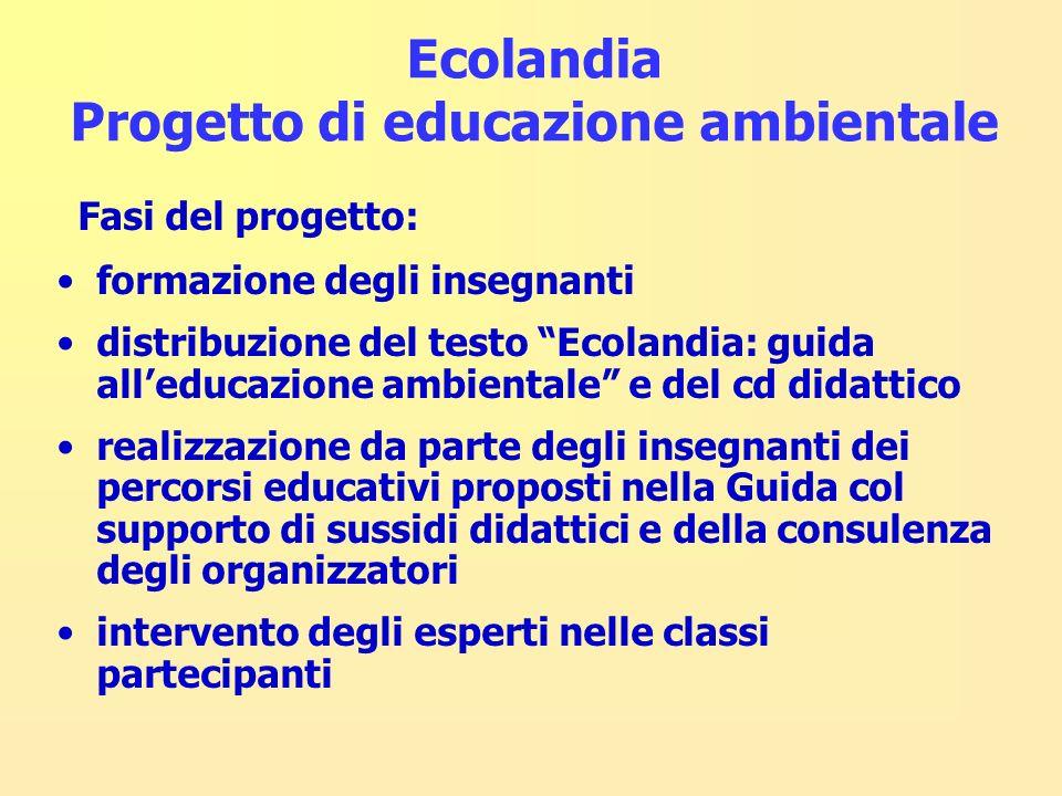 Ecolandia Progetto di educazione ambientale Fasi del progetto: formazione degli insegnanti distribuzione del testo Ecolandia: guida alleducazione ambi