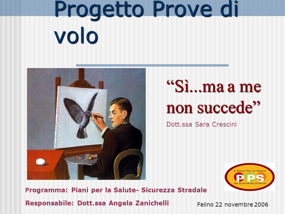 Felino 22 novembre 2006 Progetto Prove di volo Sì...ma a me non succede Dott.ssa Sara Crescini P rogramma: Piani per la Salute- Sicurezza Stradale Responsabile: Dott.ssa Angela Zanichelli