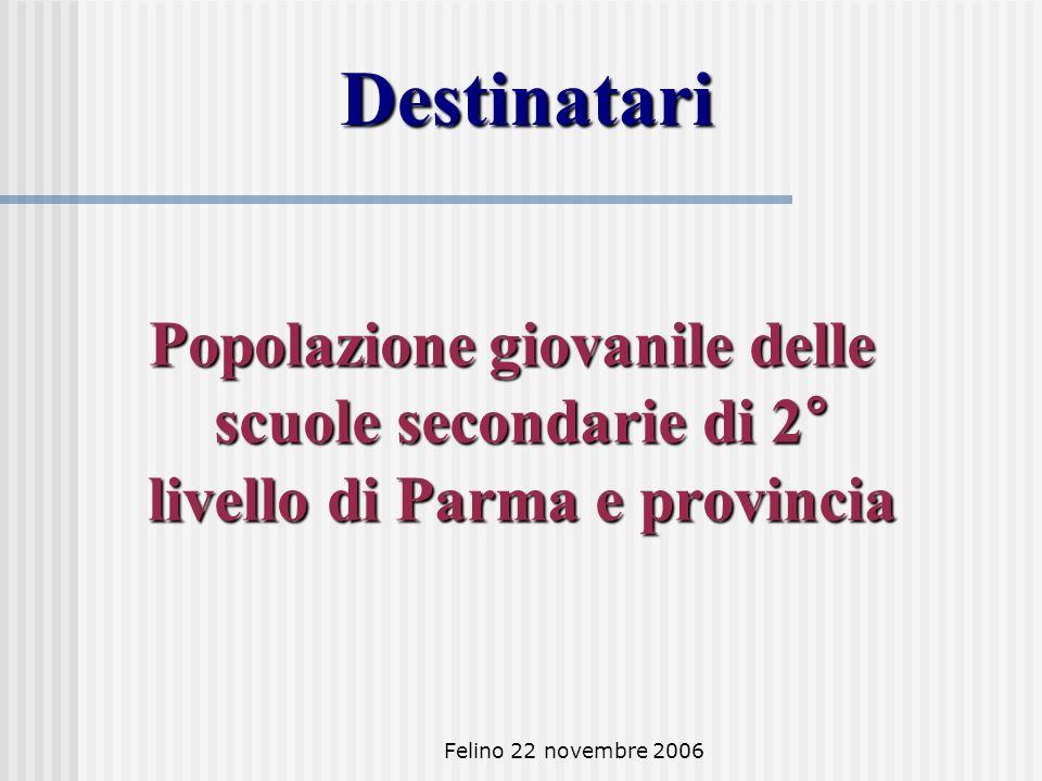 Felino 22 novembre 2006 Destinatari Popolazione giovanile delle scuole secondarie di 2° livello di Parma e provincia Popolazione giovanile delle scuole secondarie di 2° livello di Parma e provincia
