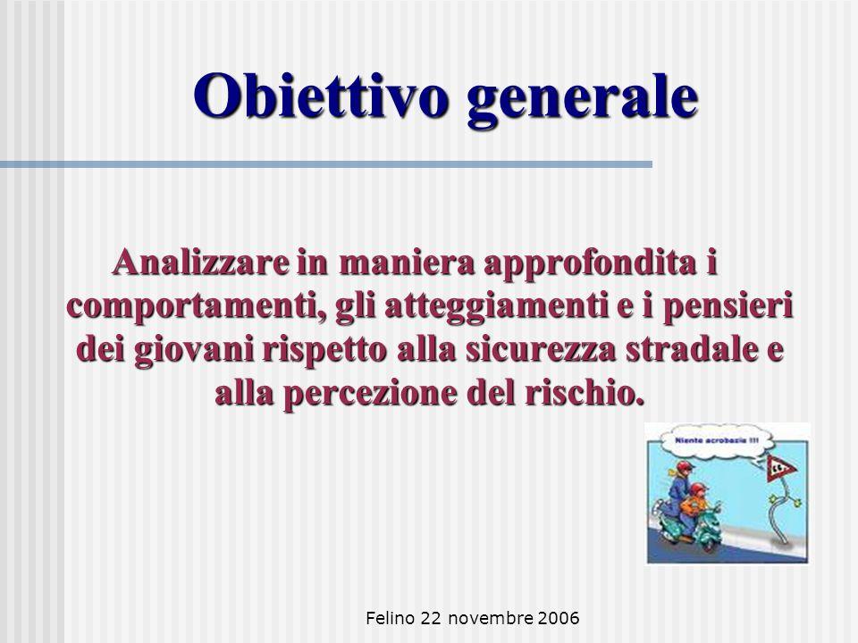 Felino 22 novembre 2006 Obiettivo generale Analizzare in maniera approfondita i comportamenti, gli atteggiamenti e i pensieri dei giovani rispetto alla sicurezza stradale e alla percezione del rischio.