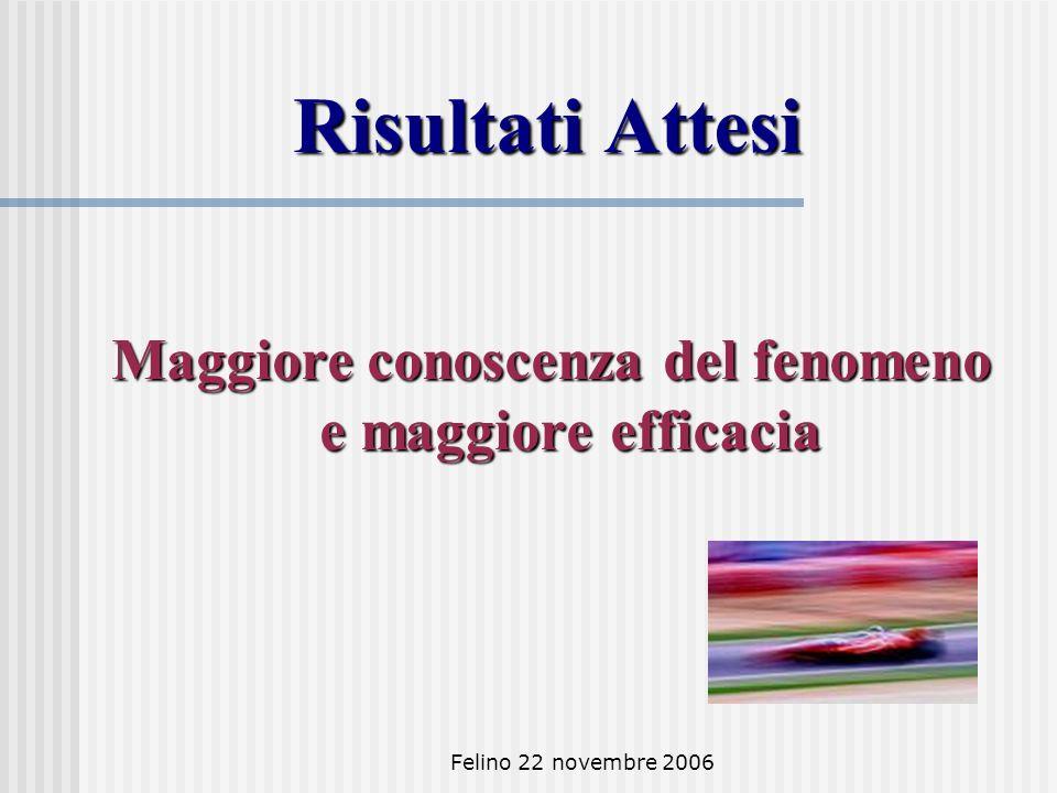Felino 22 novembre 2006 Risultati Attesi Maggiore conoscenza del fenomeno e maggiore efficacia