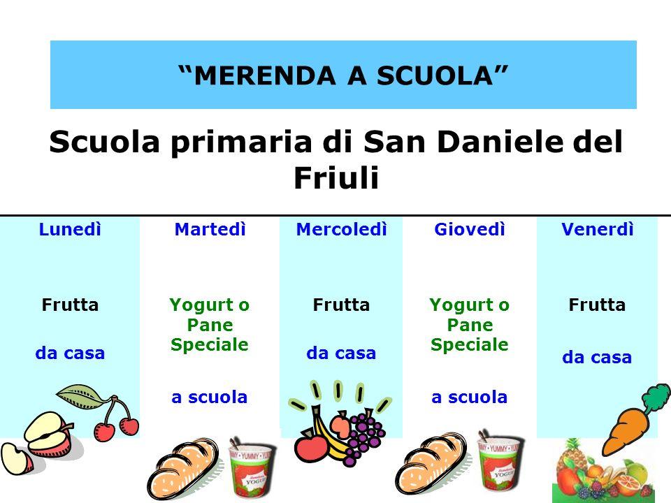 MERENDA A SCUOLA Scuola primaria di San Daniele del Friuli LunedìMartedìMercoledìGiovedìVenerdì Frutta da casa Yogurt o Pane Speciale a scuola Frutta