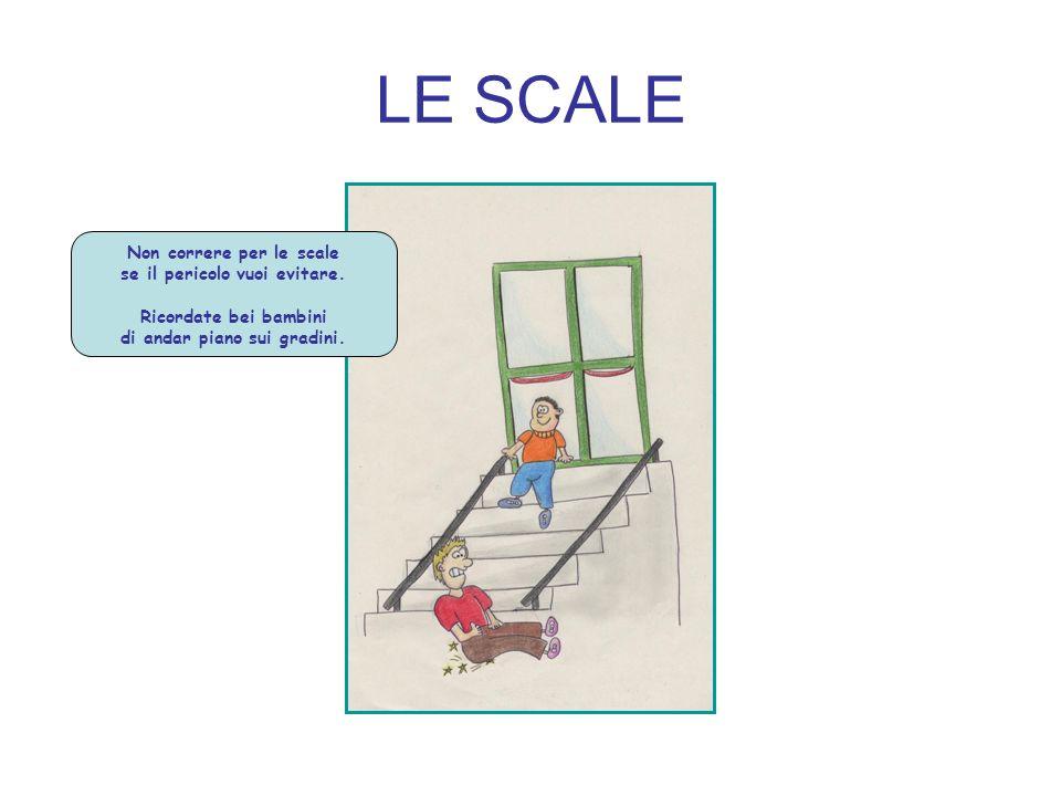 LE SCALE Non correre per le scale se il pericolo vuoi evitare. Ricordate bei bambini di andar piano sui gradini.