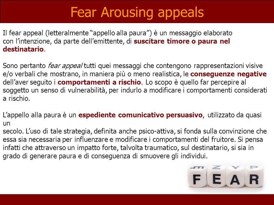 Fear Arousing appeals Il fear appeal (letteralmente appello alla paura) è un messaggio elaborato con lintenzione, da parte dellemittente, di suscitare