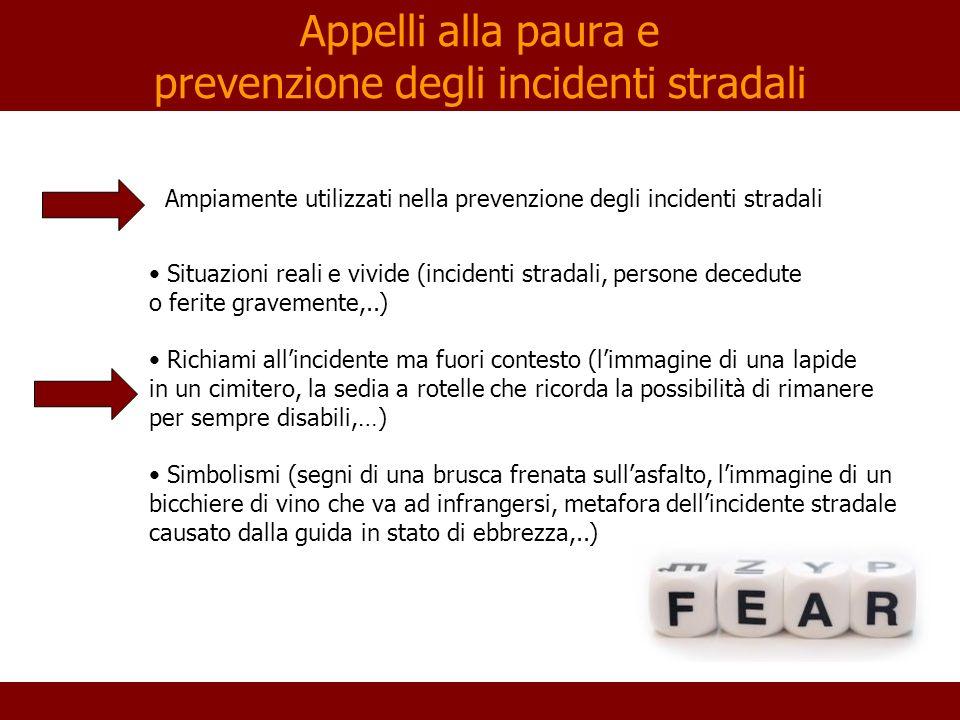 Appelli alla paura e prevenzione degli incidenti stradali Ampiamente utilizzati nella prevenzione degli incidenti stradali Situazioni reali e vivide (