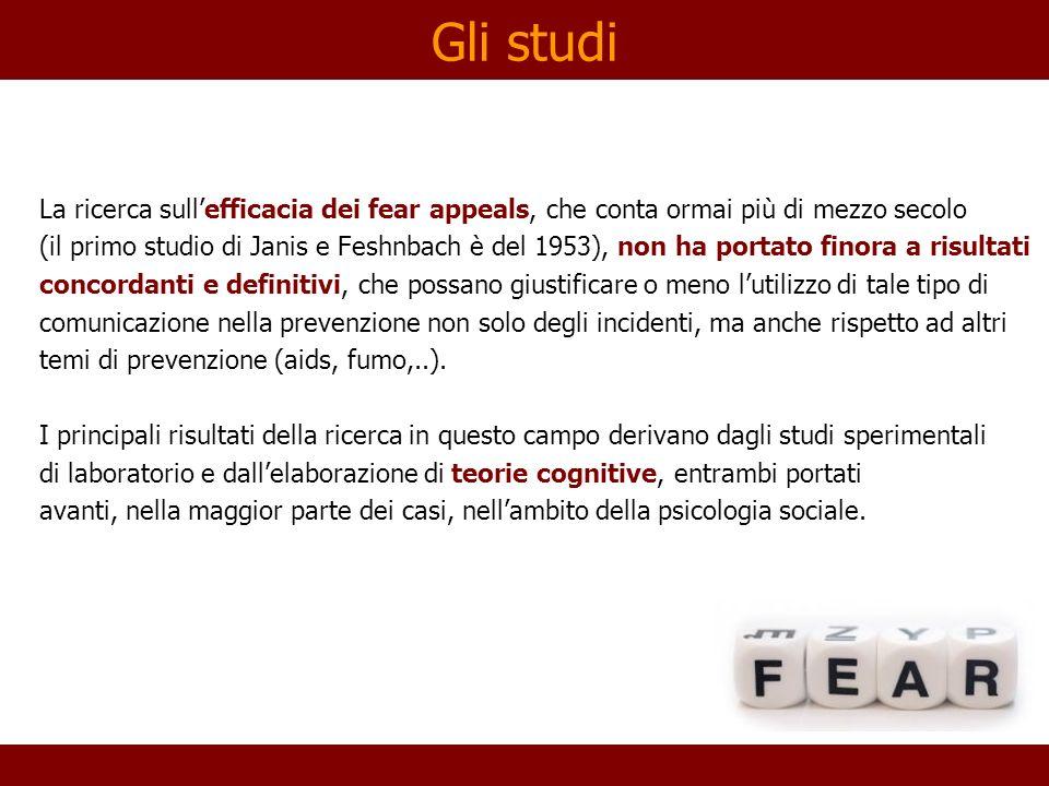 Gli studi La ricerca sullefficacia dei fear appeals, che conta ormai più di mezzo secolo (il primo studio di Janis e Feshnbach è del 1953), non ha por