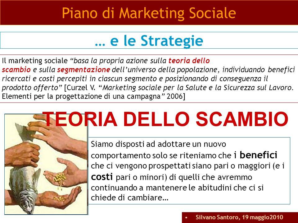 Piano di Marketing Sociale … e le Strategie Il marketing sociale basa la propria azione sulla teoria dello scambio e sulla segmentazione delluniverso