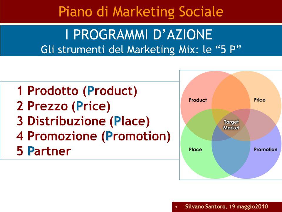 P 1 Prodotto (Product) P 2 Prezzo (Price) P 3 Distribuzione (Place) P 4 Promozione (Promotion) P 5 Partner Piano di Marketing Sociale I PROGRAMMI DAZI