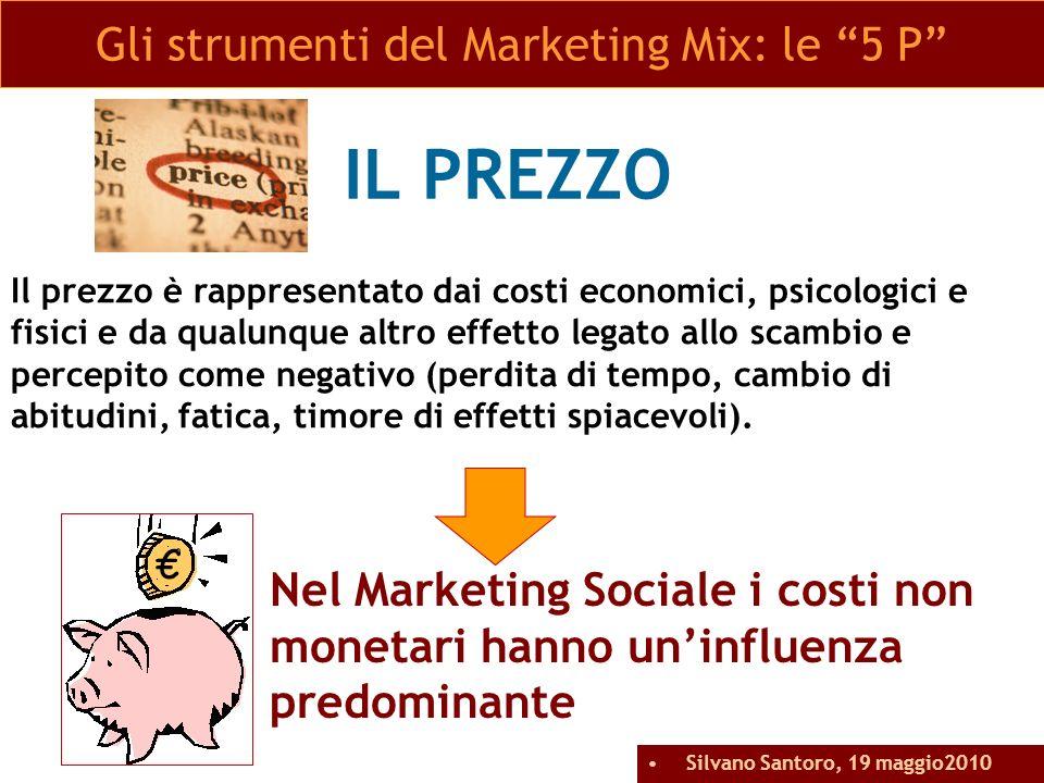 IL PREZZO Nel Marketing Sociale i costi non monetari hanno uninfluenza predominante Gli strumenti del Marketing Mix: le 5 P Il prezzo è rappresentato
