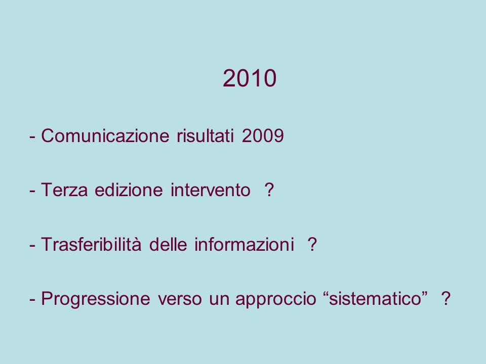 2010 - Comunicazione risultati 2009 - Terza edizione intervento ? - Trasferibilità delle informazioni ? - Progressione verso un approccio sistematico