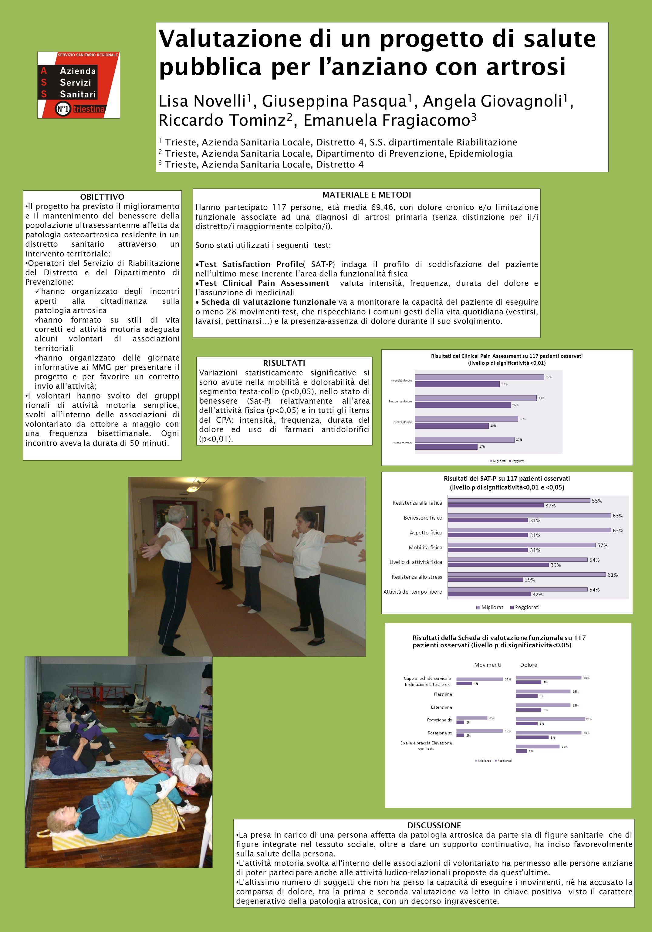 Valutazione di un progetto di salute pubblica per lanziano con artrosi Lisa Novelli 1, Giuseppina Pasqua 1, Angela Giovagnoli 1, Riccardo Tominz 2, Em