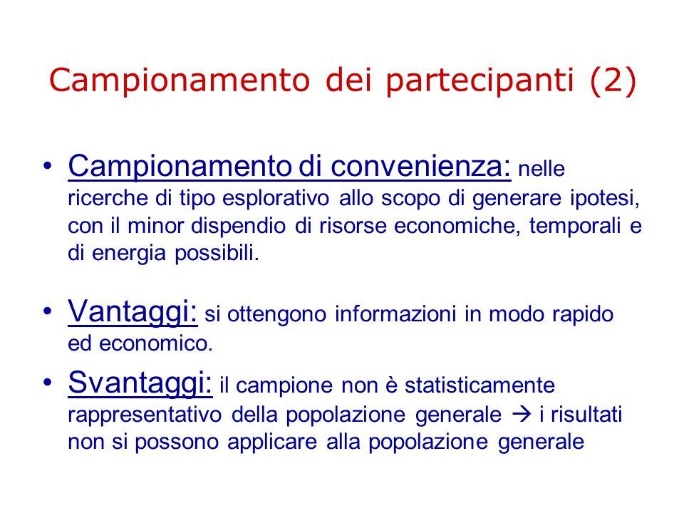 Campionamento dei partecipanti (2) Campionamento di convenienza: nelle ricerche di tipo esplorativo allo scopo di generare ipotesi, con il minor dispe