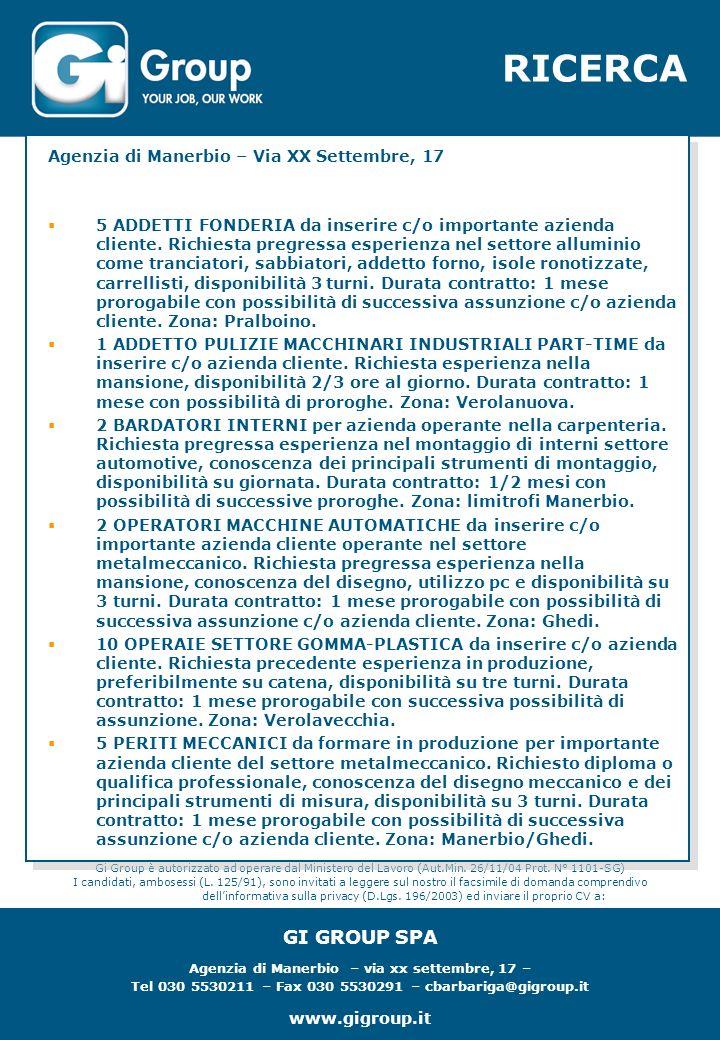 RICERCA Gi Group è autorizzato ad operare dal Ministero del Lavoro (Aut.Min.