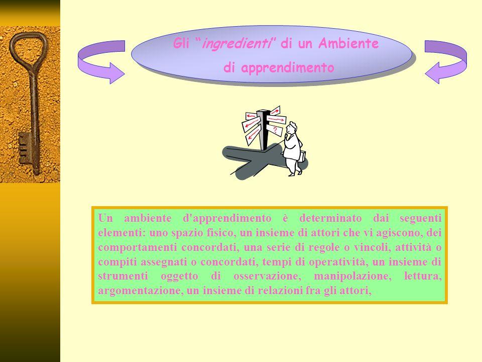 Gli ingredienti di un Ambiente di apprendimento Un ambiente d apprendimento è determinato dai seguenti elementi: uno spazio fisico, un insieme di attori che vi agiscono, dei comportamenti concordati, una serie di regole o vincoli, attività o compiti assegnati o concordati, tempi di operatività, un insieme di strumenti oggetto di osservazione, manipolazione, lettura, argomentazione, un insieme di relazioni fra gli attori,