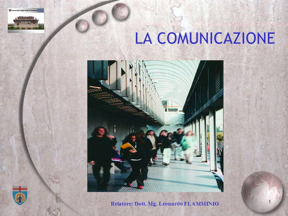 1 LA COMUNICAZIONE Relatore: Dott. Mg. Leonardo FLAMMINIO