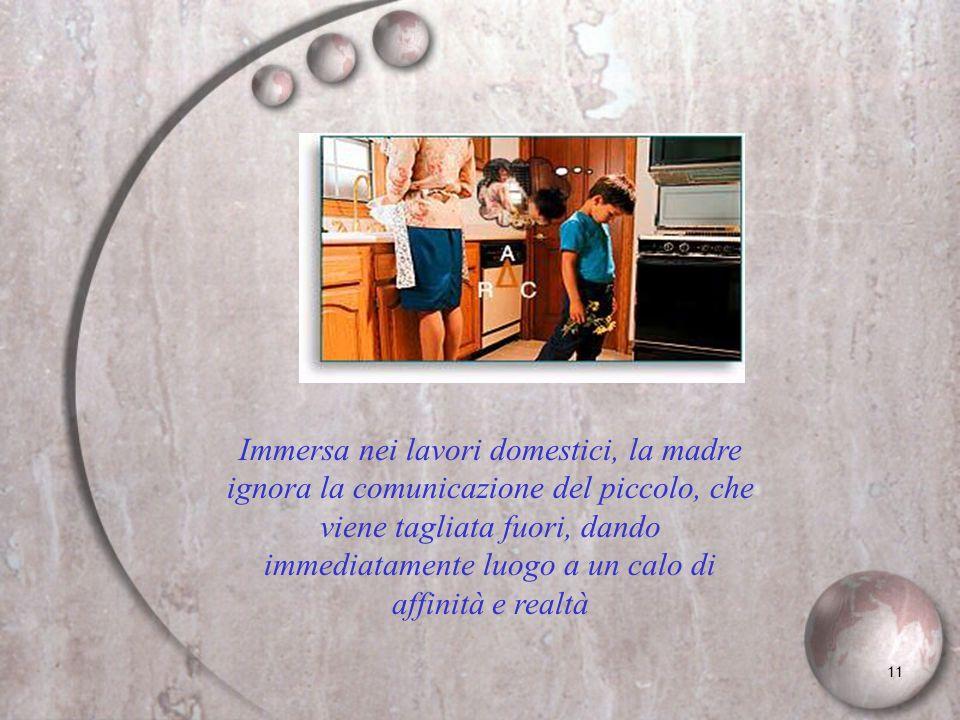 11 Immersa nei lavori domestici, la madre ignora la comunicazione del piccolo, che viene tagliata fuori, dando immediatamente luogo a un calo di affin