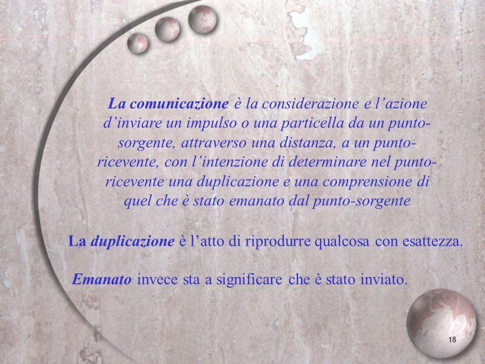 18 La comunicazione è la considerazione e lazione dinviare un impulso o una particella da un punto- sorgente, attraverso una distanza, a un punto- ric