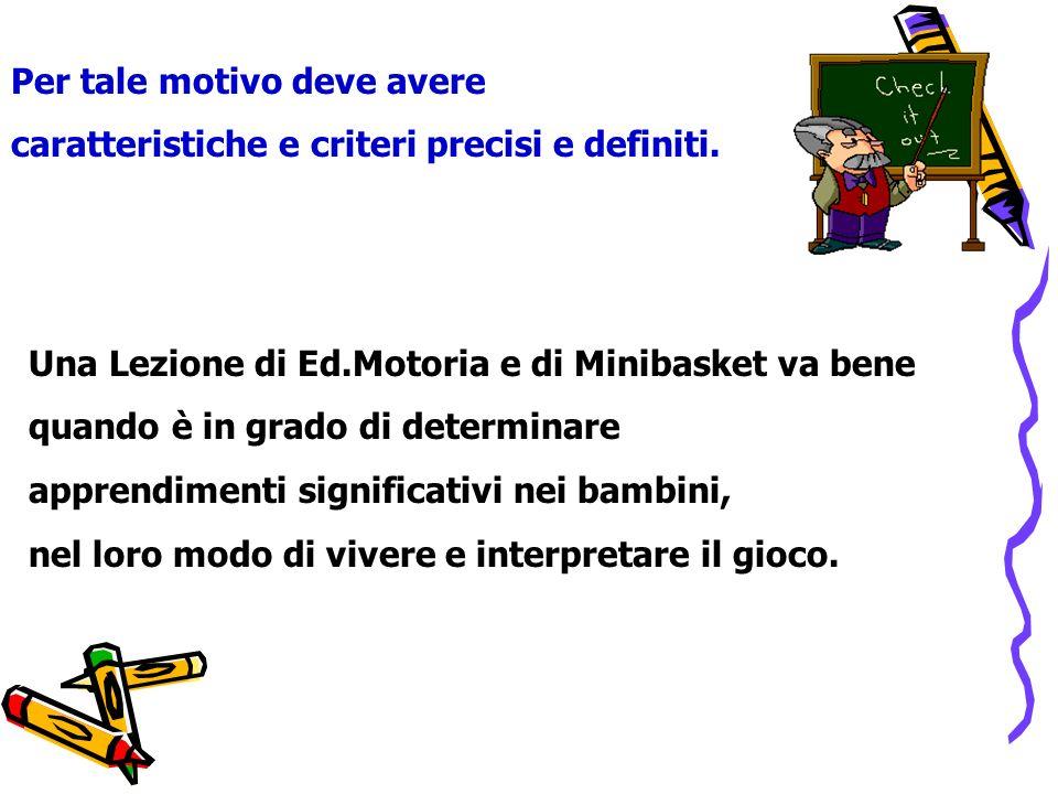 Una Lezione di Ed.Motoria e di Minibasket va bene quando è in grado di determinare apprendimenti significativi nei bambini, nel loro modo di vivere e