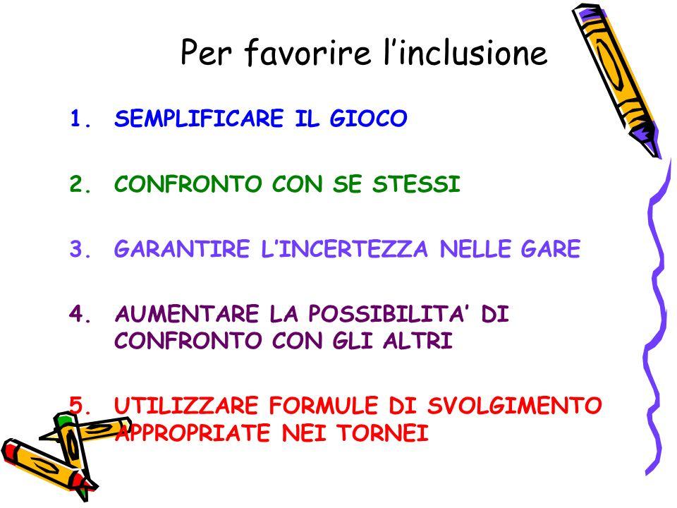 Per favorire linclusione 1.SEMPLIFICARE IL GIOCO 2.CONFRONTO CON SE STESSI 3.GARANTIRE LINCERTEZZA NELLE GARE 4.AUMENTARE LA POSSIBILITA DI CONFRONTO