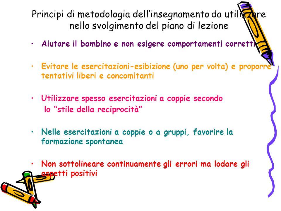 Principi di metodologia dellinsegnamento da utilizzare nello svolgimento del piano di lezione Aiutare il bambino e non esigere comportamenti corretti