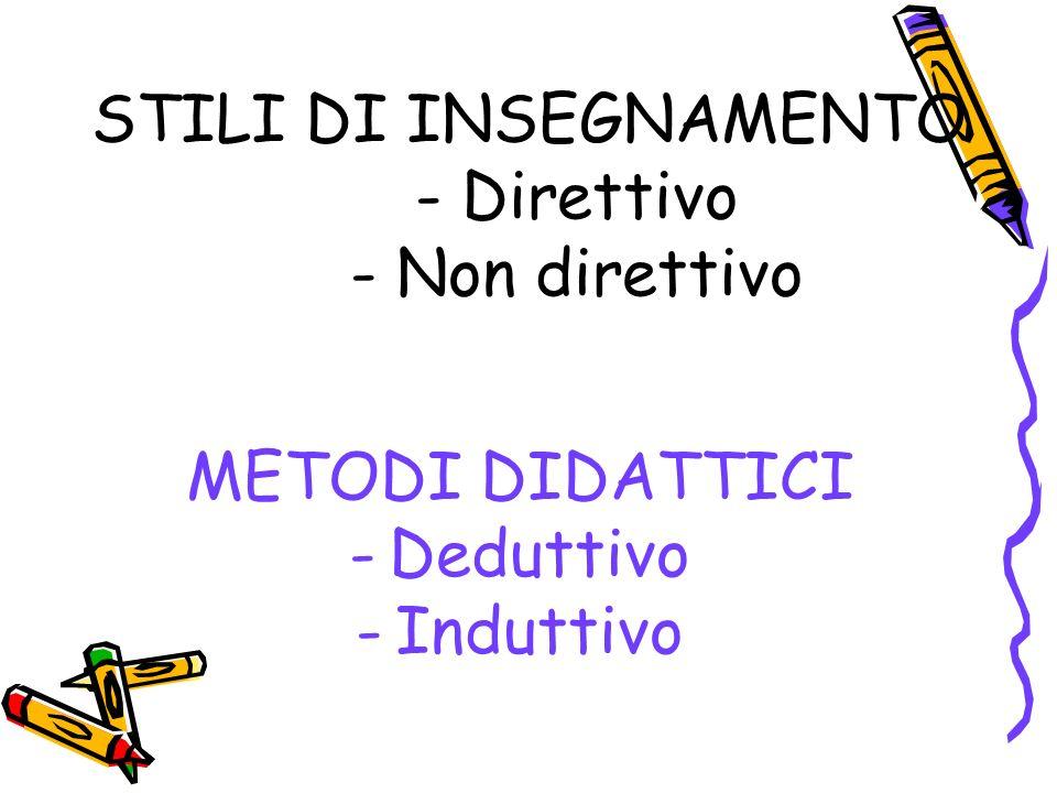STILI DI INSEGNAMENTO - Direttivo - Non direttivo METODI DIDATTICI -Deduttivo -Induttivo