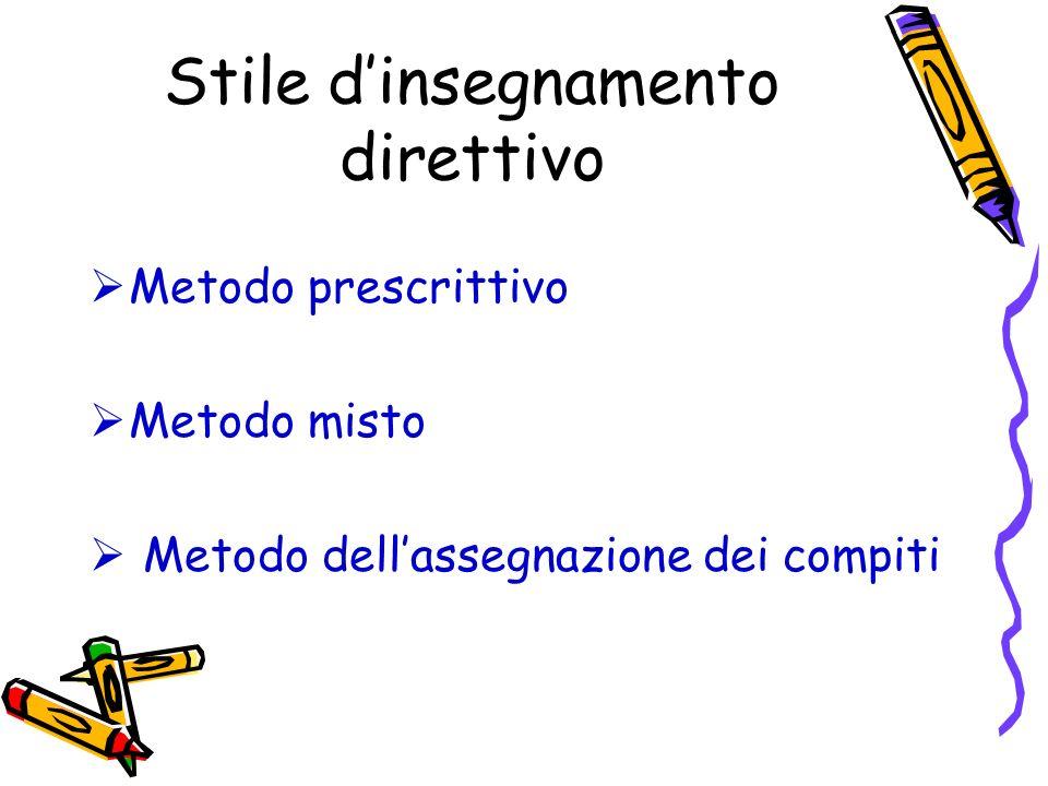 Stile dinsegnamento direttivo Metodo prescrittivo Metodo misto Metodo dellassegnazione dei compiti