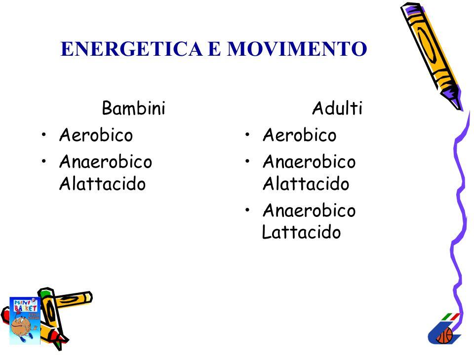 ENERGETICA E MOVIMENTO Bambini Aerobico Anaerobico Alattacido Adulti Aerobico Anaerobico Alattacido Anaerobico Lattacido