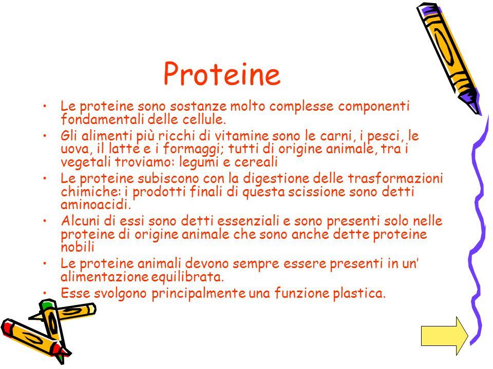 Proteine Le proteine sono sostanze molto complesse componenti fondamentali delle cellule. Gli alimenti più ricchi di vitamine sono le carni, i pesci,