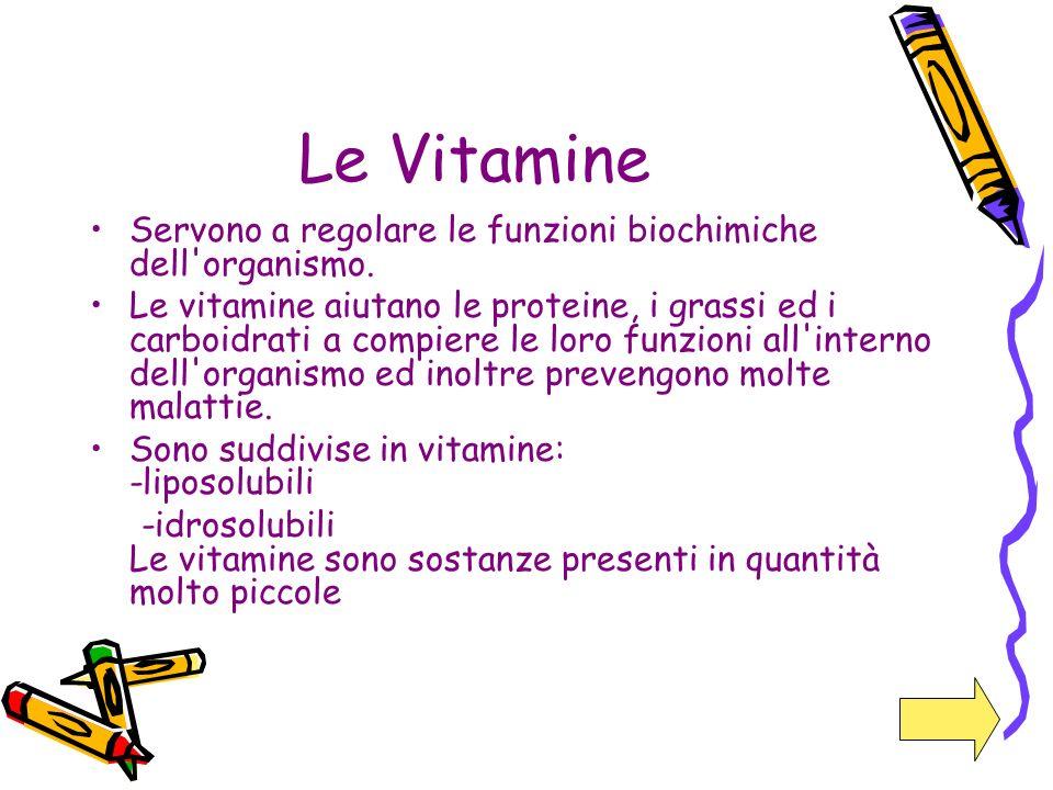Le Vitamine Servono a regolare le funzioni biochimiche dell'organismo. Le vitamine aiutano le proteine, i grassi ed i carboidrati a compiere le loro f