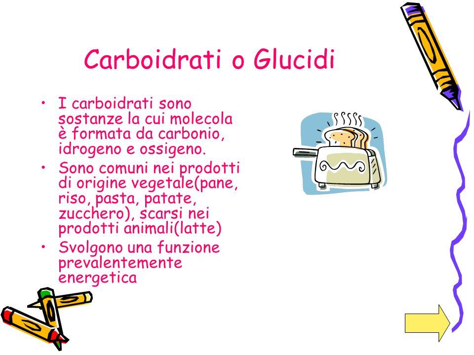 Carboidrati o Glucidi I carboidrati sono sostanze la cui molecola è formata da carbonio, idrogeno e ossigeno. Sono comuni nei prodotti di origine vege