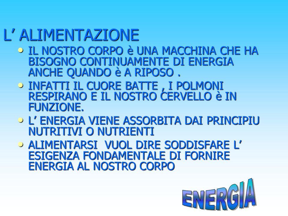 i principi nutritivi Le sostanze che forniscono energia al corpo umano sono i principi nutritivi o nutrienti o principi alimentari