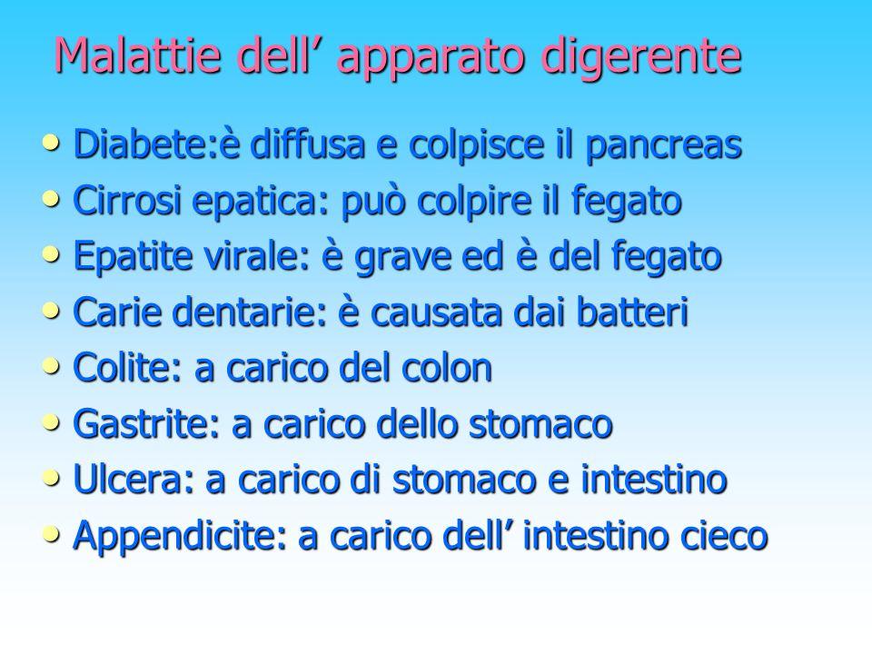 Malattie dell apparato digerente Diabete:è diffusa e colpisce il pancreas Cirrosi epatica: può colpire il fegato Epatite virale: è grave ed è del fega