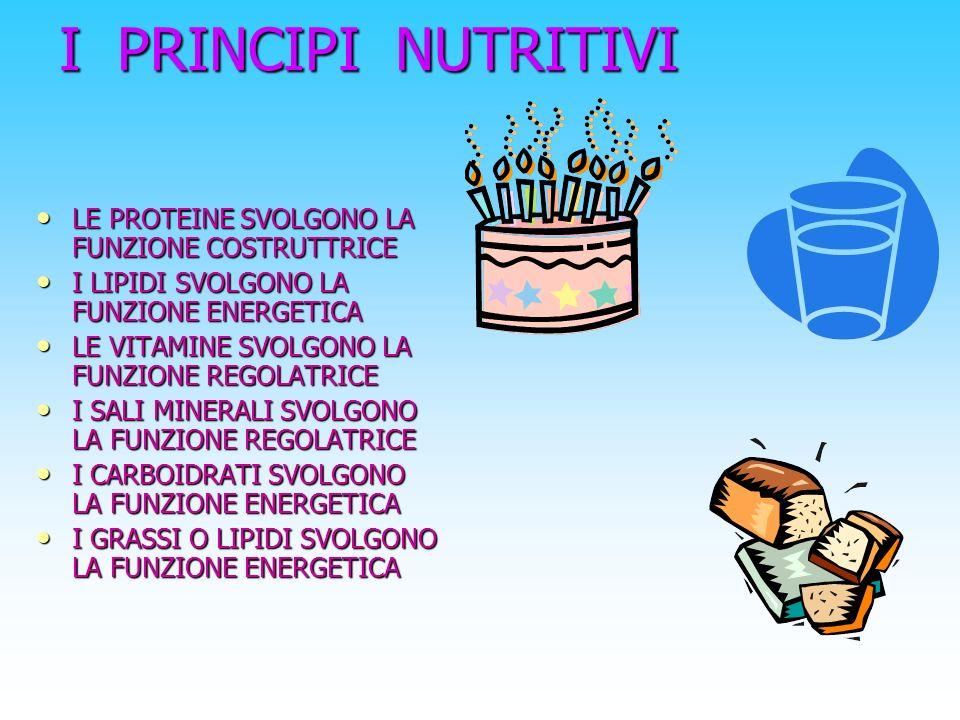 I glucidi o carboidrati Svolgono una funzione energetica cioè forniscono energia al nostro organismo MONOSACCARIDI(glucosio, lo zucchero presente nel sangue, il fruttosio presente nella frutta e il lattosio presente nel latte) DISACCARIDI(lattosio presente nel latte e il saccarosio, lo zucchero da tavola) POLISACCARIDI(amido,presente nel pane, nella pasta, nel riso e la cellulosa dei vegetali) La digestione dei carboidrati avviene con la demolizione dei monosaccaridi, disaccaridi e polisaccaridi, gli unici assorbibili dalle cellule del nostro corpo Costituiscono il 1% del nostro corpo