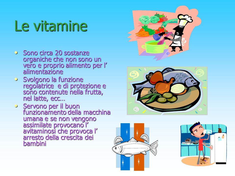 Le vitamine Sono circa 20 sostanze organiche che non sono un vero e proprio alimento per l alimentazione Svolgono la funzione regolatrice e di protezi