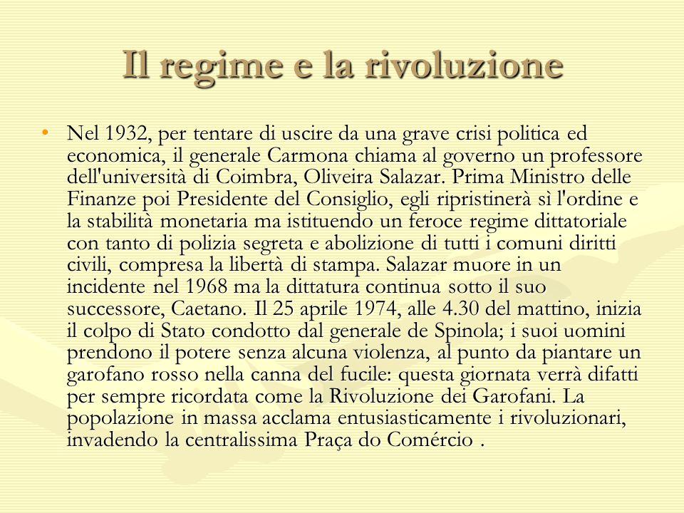 Il regime e la rivoluzione Nel 1932, per tentare di uscire da una grave crisi politica ed economica, il generale Carmona chiama al governo un professo