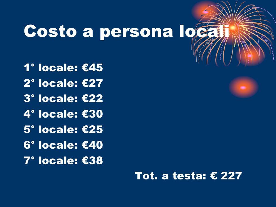 Costo a persona locali 1° locale: 45 2° locale: 27 3° locale: 22 4° locale: 30 5° locale: 25 6° locale: 40 7° locale: 38 Tot. a testa: 227
