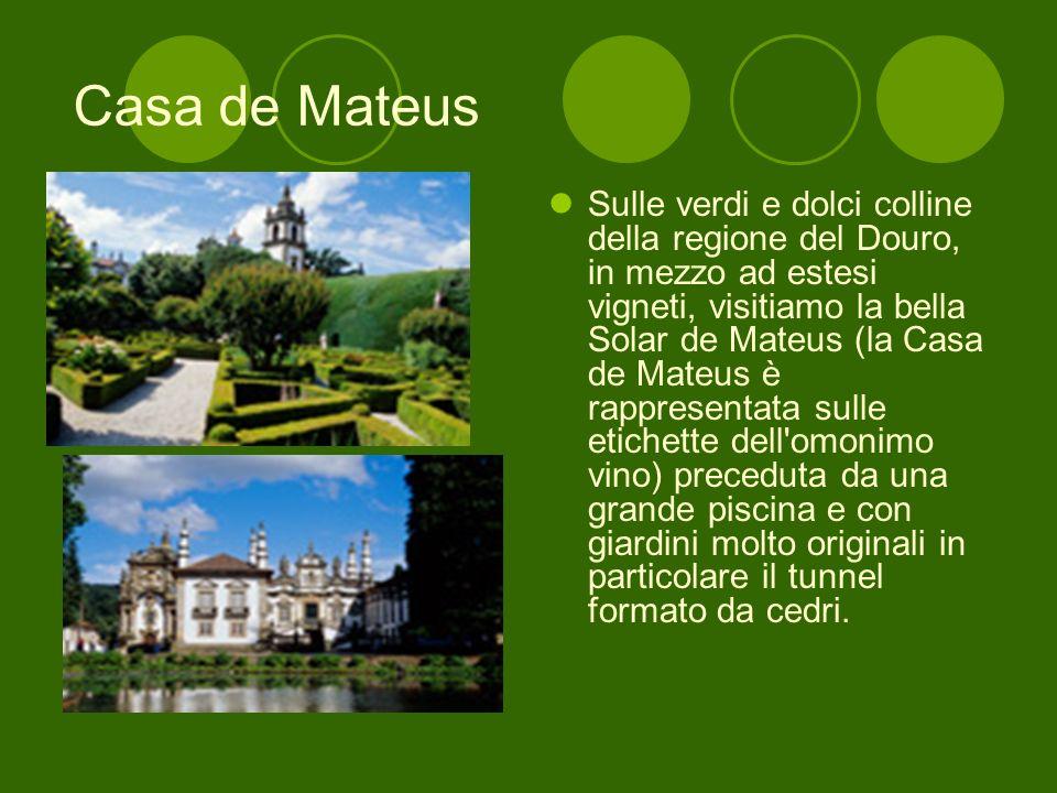 Casa de Mateus Sulle verdi e dolci colline della regione del Douro, in mezzo ad estesi vigneti, visitiamo la bella Solar de Mateus (la Casa de Mateus