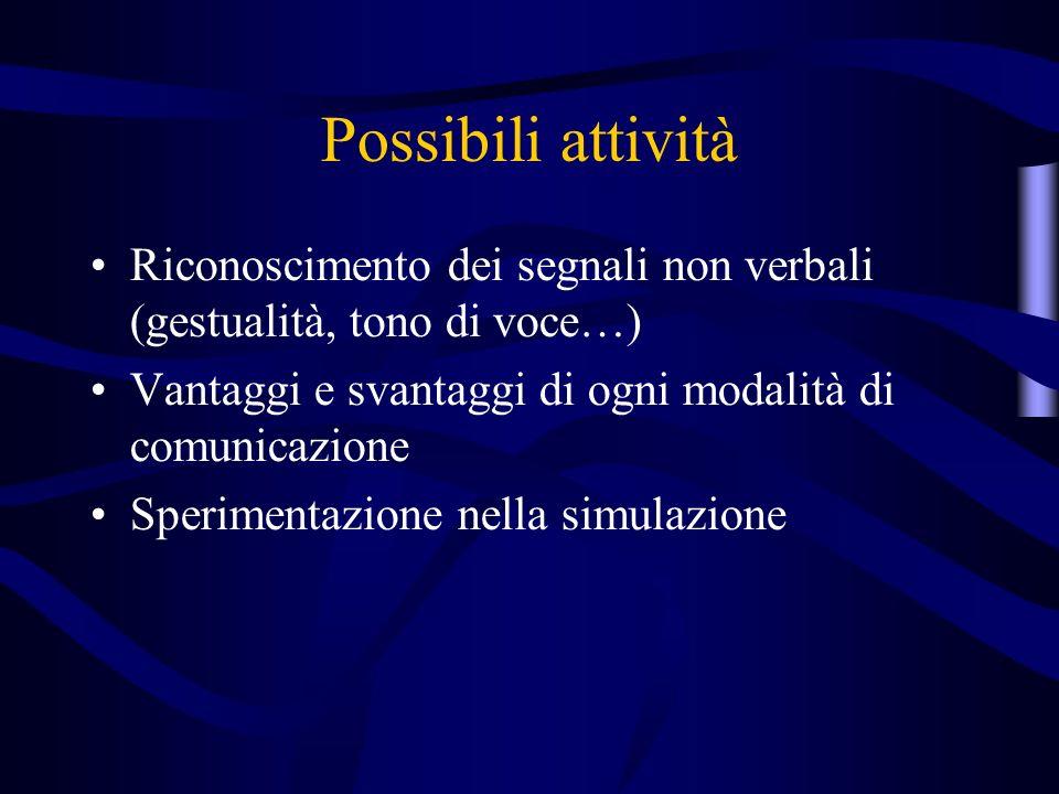 Possibili attività Riconoscimento dei segnali non verbali (gestualità, tono di voce…) Vantaggi e svantaggi di ogni modalità di comunicazione Sperimentazione nella simulazione