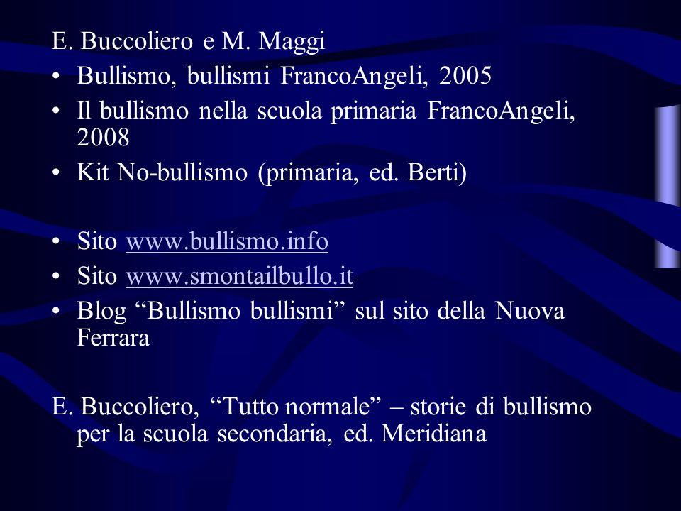 E. Buccoliero e M. Maggi Bullismo, bullismi FrancoAngeli, 2005 Il bullismo nella scuola primaria FrancoAngeli, 2008 Kit No-bullismo (primaria, ed. Ber